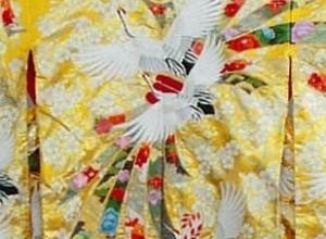 黄地のしめに鶴